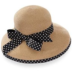 Straw Hat With Black & White Polka-Dot Bow