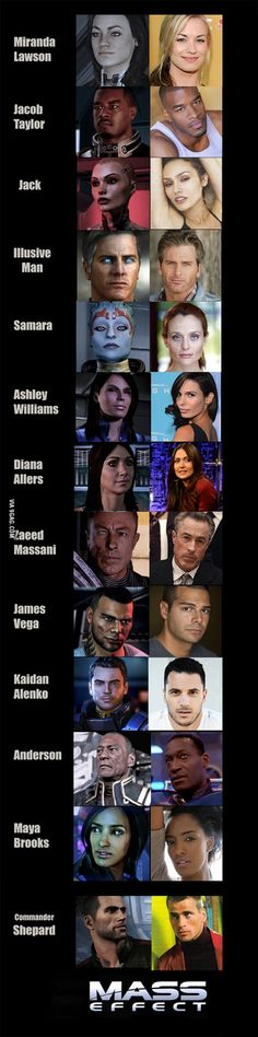 Mass Effect - Characters and facial models