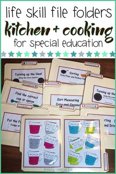 Special Education Kitchen / Cooking Life Skill File Folders : Practice life skills even while your students are at their desks with these kitchen and cooking file folders! Life Skills Classroom, Autism Classroom, Special Education Classroom, Education Quotes For Teachers, Elementary Education, Education English, Life Skills Lessons, Life Skills Activities, Teaching Life Skills