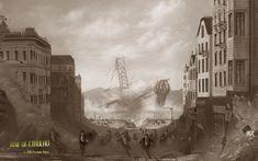 Wallpaper de cthonians al ataque, por Alessandro Alaia. Extraído de leyenda.net, una de las mejores webs sobre el mundo de HPL