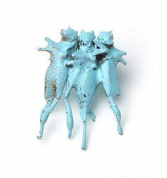 Märta Mattsson - Russian dancers, 2008 (Brooch / Copper electro-formed crickets, lacquer, silver)