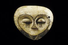"Mask, Kwele; Republic of Congo (Brazzaville)  Wood, pigment; H. 8"""