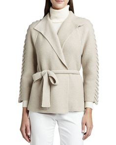 Cashmere Belted Long-Sleeve Cardigan by Lafayette 148 New York at Neiman Marcus.
