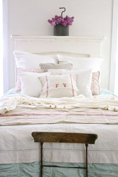 ZsaZsa Bellagio: Shabby Romance/Mantle Headboard. Great use of our mantle.