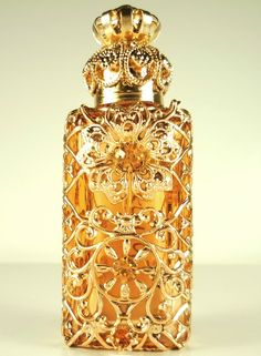 Collectible Perfume Bottles | Vanity Gold Tone Filigree Collectible Hand Made Perfume Bottle