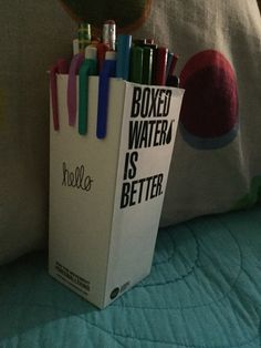 Turn a boxed water into a cute pencil holder