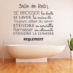 regle de la salle de bain - Recherche Google Exterior Design, Interior And Exterior, Red Kitchen, Reno, Printable Paper, Slogan, Decorative Bowls, Texts, Room Decor