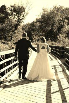 Wedding outside on bridge photo