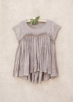 Brianna Top in Opal Gray - Clothing - Ma Petite