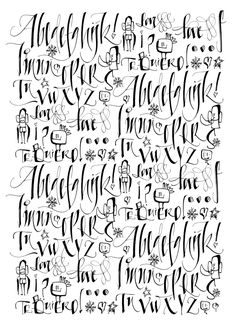 Silvia Cordero Vega Possible tattoo font? Beautiful Calligraphy, Calligraphy Alphabet, Calligraphy Fonts, Chicano Lettering, Hand Lettering, Diy Tattoo, Tattoo Fonts, Tattoo Alphabet, Fancy Letters