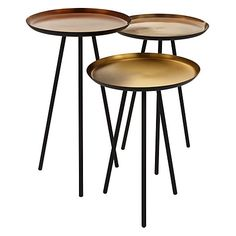 Buy Content by Terence Conran Accents Round Side Tables, Set of 3, Bronze Online…