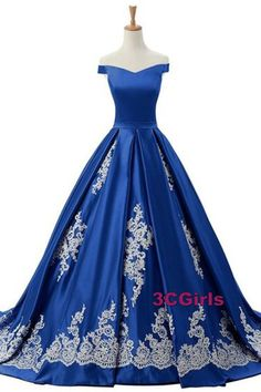 Vintage prom dress, off-shoulder ball gown, beautiful navy blue satin + lace appliques long dress for prom 2017