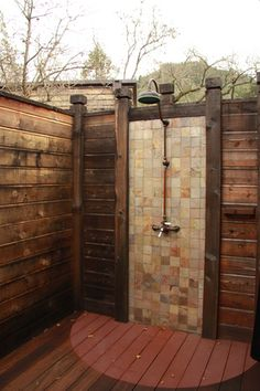 Not sure I know the point of an outdoor shower, but of I had one this would be nice...