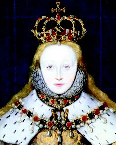 Young Elizabeth Elizabeth I in her coronation robes, patterned with Tudor roses and trimmed with ermine. January 15 ,1559 she was crowned at Westminster at age 25.