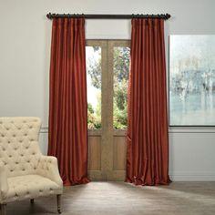 Burnt Orange Vintage Textured Faux Dupioni Silk Single Panel Curtain, 50 X 84 Drapery Set