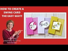 This tutorial is How to Create a Swing Card the Easy Way. This Swing Card is using the Stampin'up Layering Dies. I show three versions in this video. Card Making Tips, Card Making Tutorials, Card Making Techniques, Making Ideas, Making Cards, Flip Cards, Fun Fold Cards, Folded Cards, 3d Cards