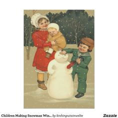 Children Making Snowman Winter Snow 5x7 Paper Invitation Card