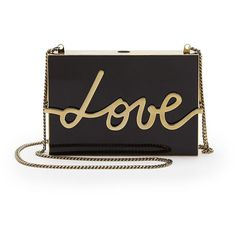 Lanvin Lacquered Resin Love Clutch (17,175 MYR) ❤ liked on Polyvore featuring bags, handbags, clutches, apparel & accessories, chain purse, chain handbags, lanvin handbags, clasp purse and lanvin purse