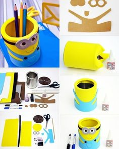 tin can crafts, yellow and blue minion pencil case, step by step picture guide how to make it, including the necessary materials