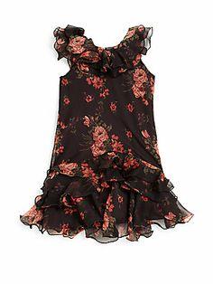 Ralph Lauren Toddler's & Little Girl's Floral Chiffon Ruffle Dress