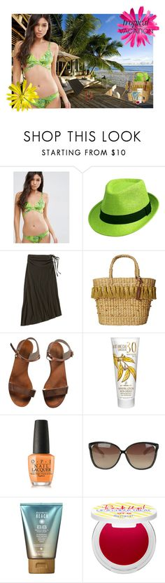 """""""Exotic Escape"""" by rachael-aislynn ❤ liked on Polyvore featuring Seychelles, ASOS, Patagonia, White Stuff, Emporio Armani, Australian Gold, OPI, Linda Farrow, Alterna and Supergoop!"""