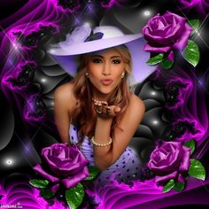 purple roses frame from www.imikimi.com Made by lissy005. Click to put your own photo in the frame!