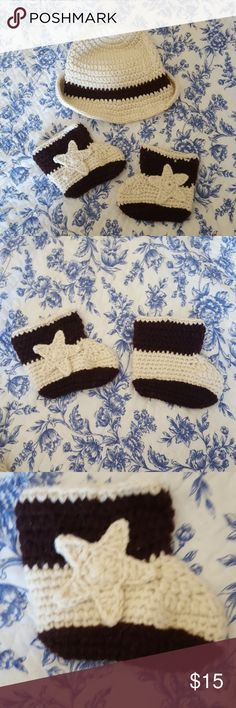 Baby Cowboy Set adorable crocheted baby cowboy hat and boots. no size listed but would fit a NB to 6 months. perfect new baby gift or photo prop. like new, only worn once! Costumes