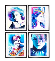 Set of 4 Art Prints My Heroines in Teal Fashion by KimberlyGodfrey