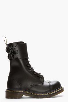 Dr. Martens | Black Leather Buckled Original 12-Eye Caden Boots #drmartens #boots