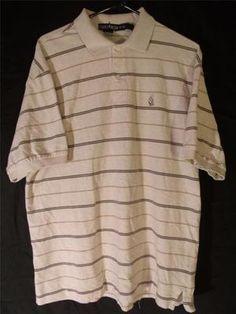 Mens XL Nautica Polo Dress Shirt Short Sleeve Cotton Casual Stylish Top Striped