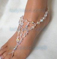 Summer lace #Crystal Elegance for your beach wedding. Dress up your bare feet with these #Sandals #Bling