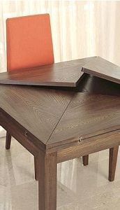 As a coffee table, possibly rectangular so it would go from 4 sided to 6 sided. Folding Furniture, Smart Furniture, Space Saving Furniture, Furniture Making, Wood Furniture, Furniture Design, Small Space Interior Design, Interior Design Living Room, Transforming Furniture