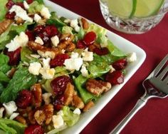 Cranberry Pecan Salad With Feta Cheese - It has all of my favorites so it must be good! You could probably substitute Pizzaz dried cranberries and glazed walnuts for the cranberries and pecans.