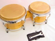 "BONGO DRUMS 8+9"" inch SET, NATURAL WOOD Dual Bongos WORLD LATIN Percussion NEW by EDMBG. $41.99. BRAND NEW - Natural Light Color Wood BONGO SET!  These drums can be TUNED! - 4 points per each bongo (with included key)  Total L x H: 19"" x 8""  Large Bongo: 9"" Dia  Small Bongo: 8"" Dia  A wonderful Light Wood Bongo Drum...a great gift for anyone!  Can be used in a HUGE variety of Music and styles. Great FUN!"