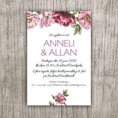 Ett nytt inbjudningskort till ett sommarbröllop eller kanske en trädgårdsfest?  Anna Göran Design - Blomsterkant stil