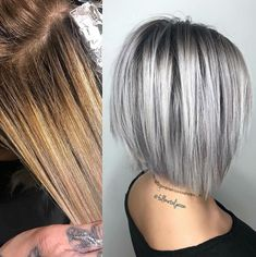 hair highlights colour I like the placement I like the placement hair makeup Grey Hair Wig, Silver Blonde Hair, Medium Hair Styles, Short Hair Styles, Gray Hair Highlights, Hair Color And Cut, Pinterest Hair, Hair Day, Bob Hairstyles