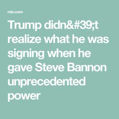Trump didn't realize what he was signing when he gave Steve Bannon unprecedented power