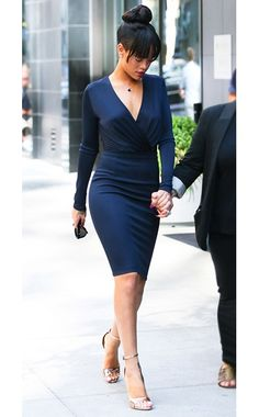 Ditch the LBD! Here's Rihanna in a navy blue Givenchy dress.