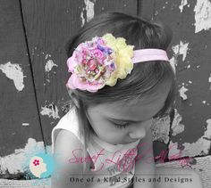 Pink Yellow Headband - Baby Rhinestone Headband - Newborn Hair Flower - Shabby Hair Clip - Infant Hair Bow