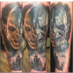 Azog tattoo by the amazingly talented, @dbkaye
