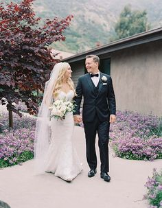 Gorgeous Poolside Wedding At A Private Residence In Orange County: The look between a bride and groom on their wedding day is just so sweet!