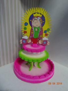 Bombonera en icopor de La Virgen de Guadalupe para Primera Comunión de niña. #DecoracionFiestasCali #PrimerasComunionesNinas