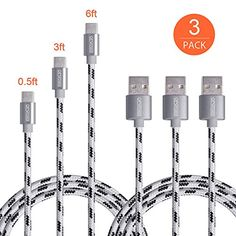 USB Type C CableOfsPower 3Pack 05ft 3ft 6ft Nylon Braided USBC to USB 30 Type A Male Data  Charging Cable with Aluminum Connector for Apple Macbook 12 Inch LG G5 Nexus 5X 6P and More Grey -- Details can be found by clicking on the image.