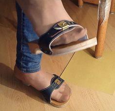 Wooden Sandals, Cork Sandals, Sheer Socks, Sheer Tights, Sexy Legs And Heels, Socks And Heels, Clogs, Dr Scholls Sandals, Mens Tights