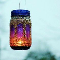 Hand Painted Eclectic Mason Jar Hanging Lantern, Deep Plum Tinted Glass with…