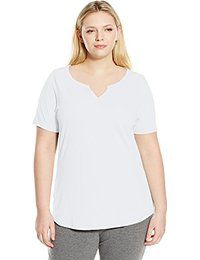 Just My Size Just My Size Women's Plus-Size Solid Split Neck Shirttail Hem Tee from $1.96