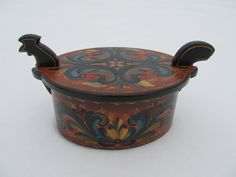 Beautiful Norwegian Rosemaling In Romsdal Style on Tine Box by Folkartbycathy on Etsy