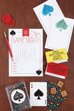 Game On! | Printable invitation, score cards, and tent cards for a game night!