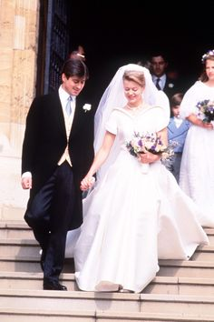 Tim Taylor and Lady Helen of Windsor.Lady Helen Windsor and Tim Taylor at their July 1992 wedding. Lady Helen's dress was designed by Catherine Walker.
