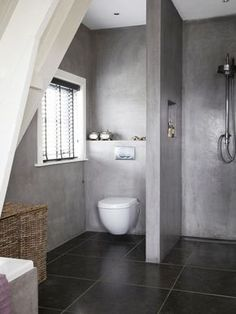 Check Out 41 Concrete Bathroom Design Ideas To Inspire You. Concrete is a super popular material due to its durability, modern look and budget-friendliness. Bathroom Toilets, Bathroom Renos, Laundry In Bathroom, Grey Bathrooms, Beautiful Bathrooms, Bathroom Interior, Modern Bathroom, Small Bathroom, Bathroom Ideas